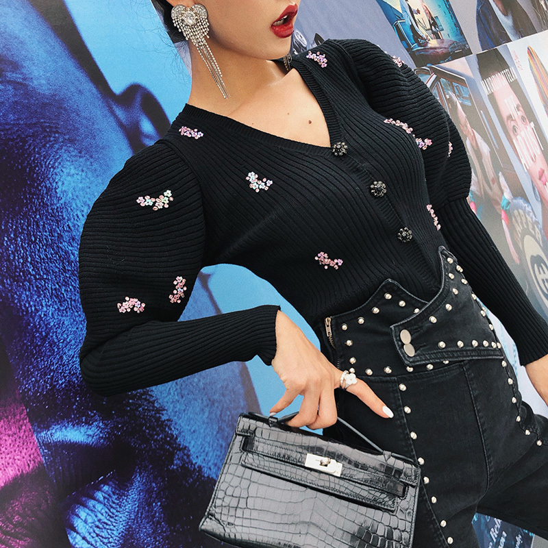 DEAT 2019 fashion new Puff Sleeve Sequin Sweatshirt knitting casual solid V neck Hot Sale Trendy