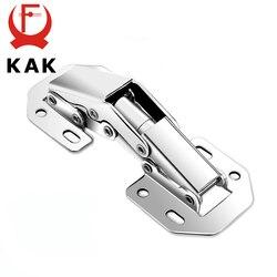 Kak dobradiças de armário de 90 graus 3 Polegada sem furo de perfuração ponte em forma de dobradiça de mola armário de móveis de porta com parafusos