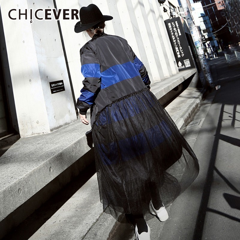 CHICEVER Patchwork Mesh   Trench   Coat For Women's Windbreaker Hit Color Single Breasted Long Sleeve   Trench   Female Coat Fashion New