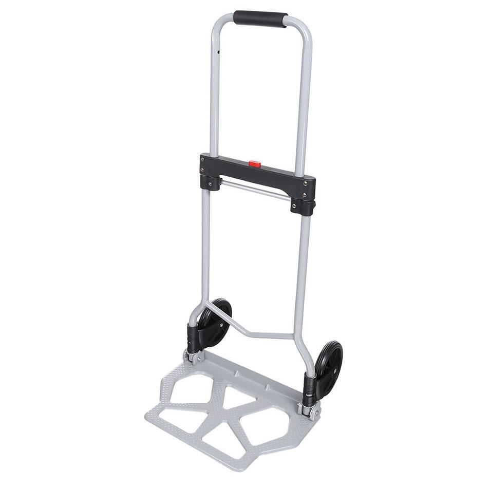 Portable100kg Capacity Multi Functional Aluminum Alloy Folding Hand Truck and Dolly Trolley for Indoor Outdoor Travel ShoppingPortable100kg Capacity Multi Functional Aluminum Alloy Folding Hand Truck and Dolly Trolley for Indoor Outdoor Travel Shopping