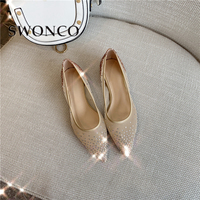 SWONCO Famle Flats Shoes Pointed Toe 2019 Mesh Breathable4 Summer Shoes For Woman Rhinestone Loafers Flats Golden Casual Shoes