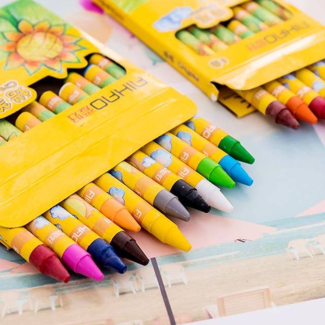 EZONE Kids Non-toxic Graffiti Wax Crayon 8/12/24 Colors Painting Color Pen Creative Graffiti Kawaii Pens For Kids Painting 2
