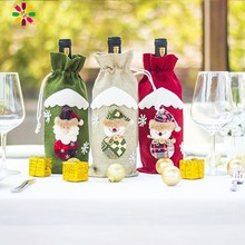 Pack Of 1pc Merry Christmas Wine Bottle Cover Cup Card Decoration For Home Santa Claus Snowman Reindeer Pattern