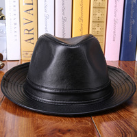 Leather Hat Really Leather Hat Sheep Skin Wide Brim Hat Genuine Leather Formal Hat Street Cool Cap 3 Color Male Woman Fund