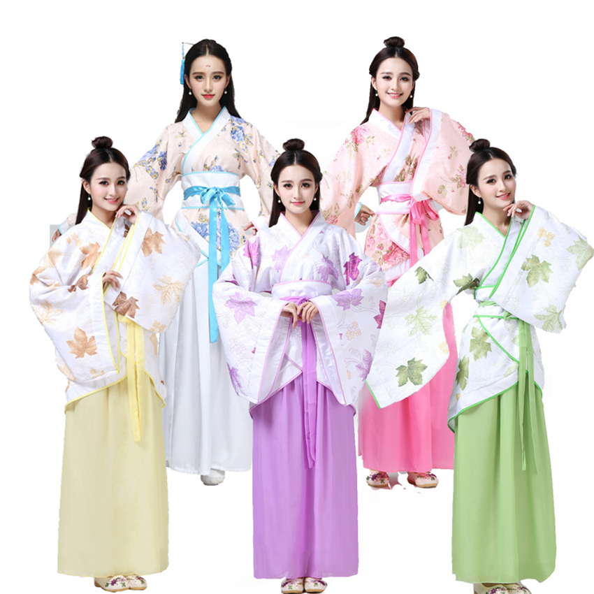 2019 New Chinese Traditional Folk Dance Hanfu Woman Ancient National Embroidery Dresses Girl Ethnic Princess Stage Costumes