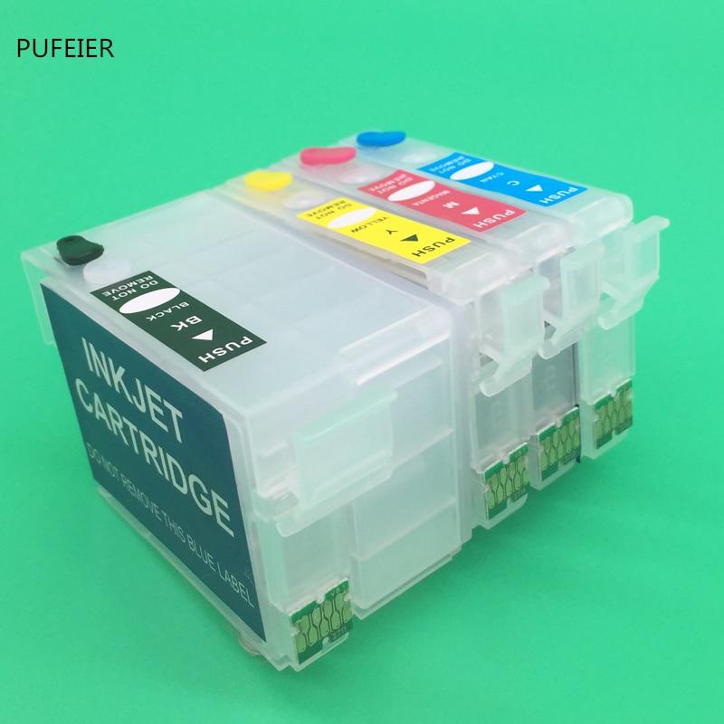 T252XL1-T252XL4 T2521-T2524 Refillable Cartridge With Chip For Epson WF-3620 WF-3640 WF-7610 WF-7620 WF-7710 WF-7720 WF-7210