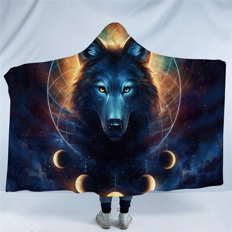Wolf Dream Catcher Hooded Blanket