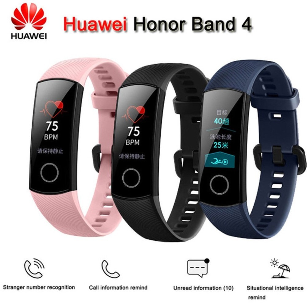 Huawei Original Honor banda 4 pulsera inteligente 2018 nueva 0,95 ''Color Amoled pantalla táctil nadar postura detectar Corazón de dormir snap