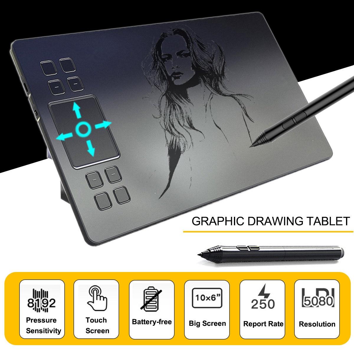 A50 graphique dessin tablette numérique stylo tablette avec 8192 niveaux passif stylo planche à dessin pour Win pour Mac système logiciels