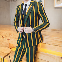 2017 Vintage Stripe Suit Latest Coat Pant Designs Yellow Red Green Stripe Vestito Uomo Smoking Masculino Costume Homme Mariage