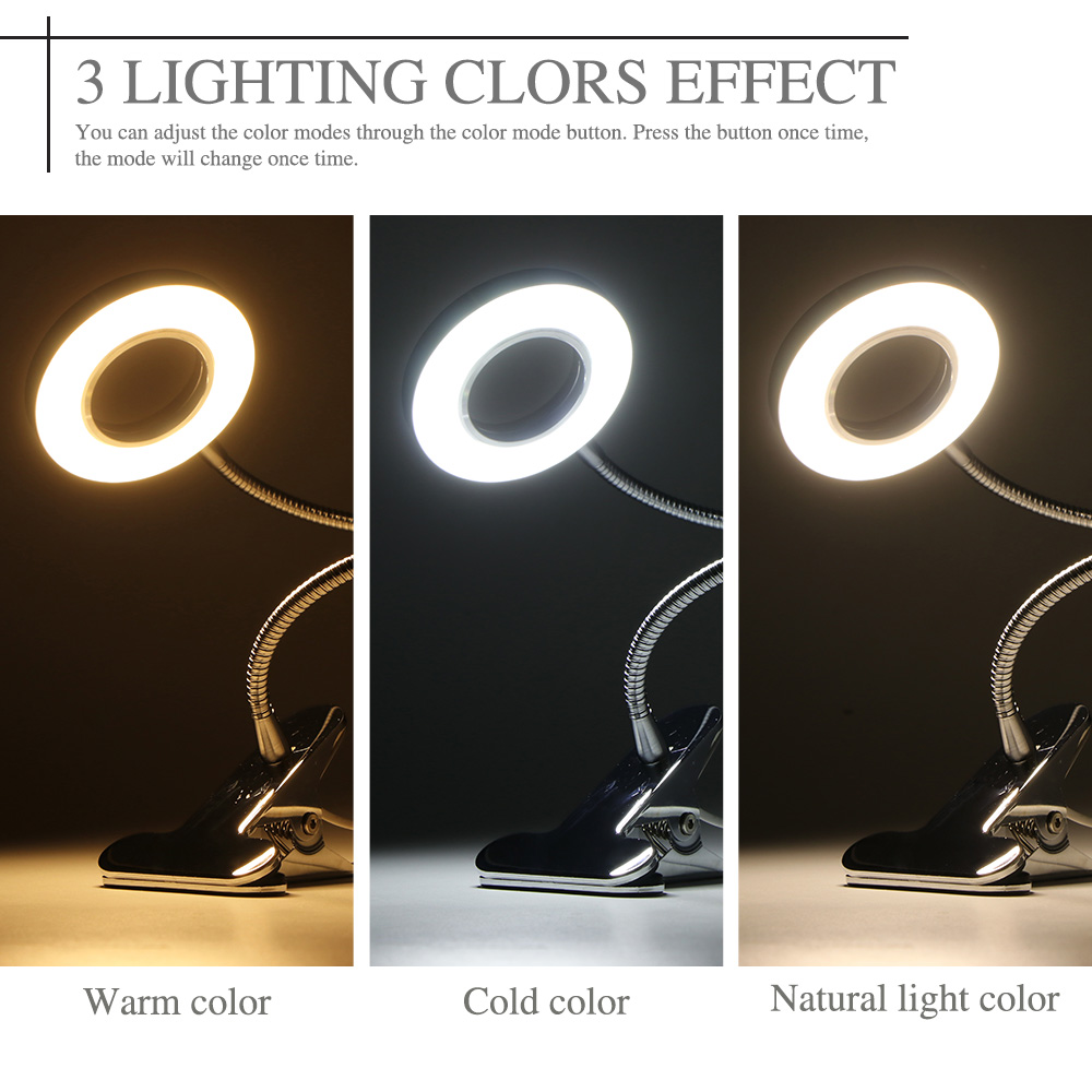 Intelligent Draagbare Clip Tafellamp Usb Aangedreven Dimmen Bureaulamp Perfect Voor Night Reading Wenkbrauw Tattoo Nail Art Beauty Make-up