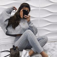 Fuedage Winter Knitting Sweater Jumpsuits For Women 2018 Solid Long Sleeve Autumn Playsui Stripe femme Rompers Womens Jumpsuit