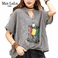 Max LuLu Fashion Korean Ladies Summer Sexy Clothes Womens Vintage Printed Plaid Shirts V Neck Female Tops And Blouses Plus Size