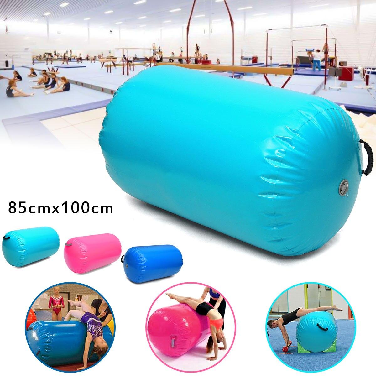 85x100 CM gonflable personnalisé PVC rond gymnastique Gym Air tapis plancher maison GYM gymnastique exercice gonflable Air culbuteur tapis faisceau