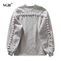 VGH Autumn Hollow Out Sweatshirts For Women Pullovers O Neck Lantern Sleeve Loose Gray Sweatshirt Fashion Casual Clothes Tide