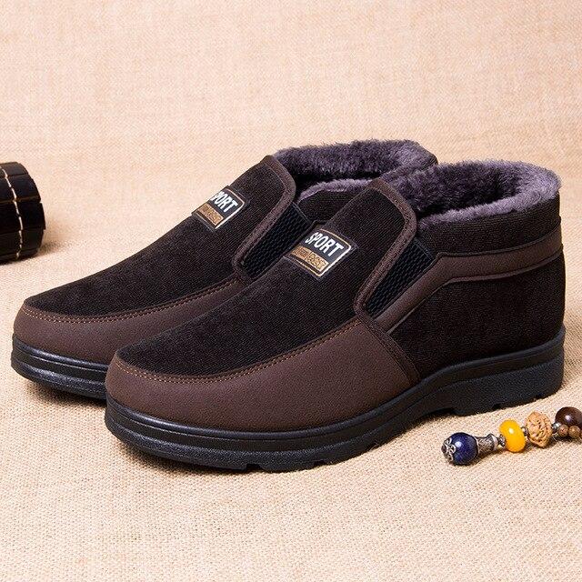 488782c52bc 2018 Men s Winter Shoes Snow Boots Snow Shoes Suede Flock Warm Plush Ankle  ...
