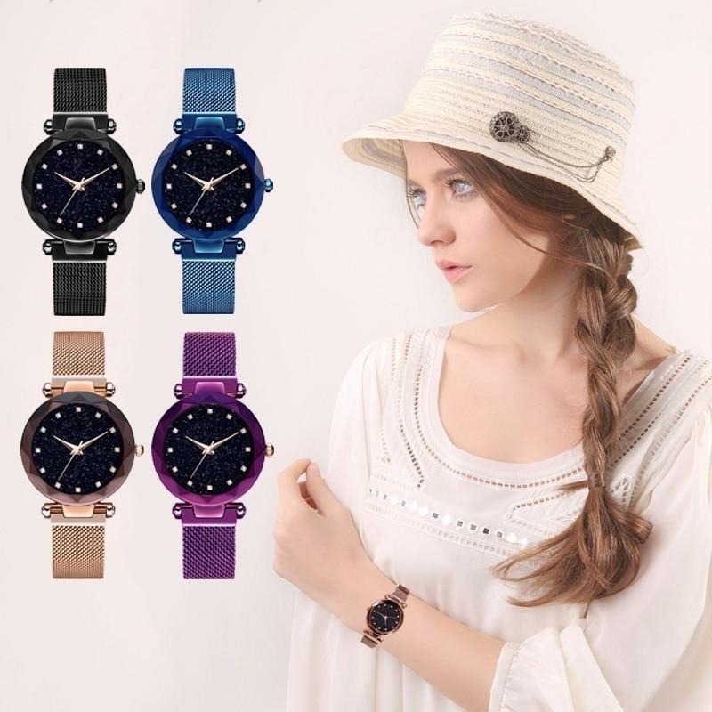 Starry Sky Luxury Women Watches Ladies Magnetic Clock Fashion Diamond Female Quartz Wristwatches relogio feminino zegarek damski in Women 39 s Watches from Watches