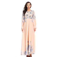 Women Muslim Fashion Turkish Islamic Clothing Printed Long Dresses O-Neck Sleeve Zipper Slim Dress