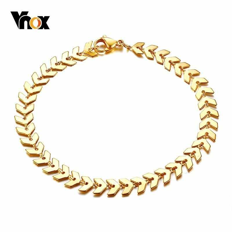 Vnox Elegant Fish Bone Chain Bracelets for Women Stainless Steel Ishikawa Diagram Design pulseira feminina 7.08""