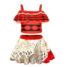 AmzBarley Girls Moana Dress For Beach Swimming Wear Kids Summer Swimsuit Costume Clothing Children