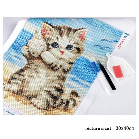 HUACAN 5D Diamond Painting Cross Stitch Diamond Embroidery Cat Full Square Rhinestones Pattern Home Decoration Needle Craft&Art Lahore