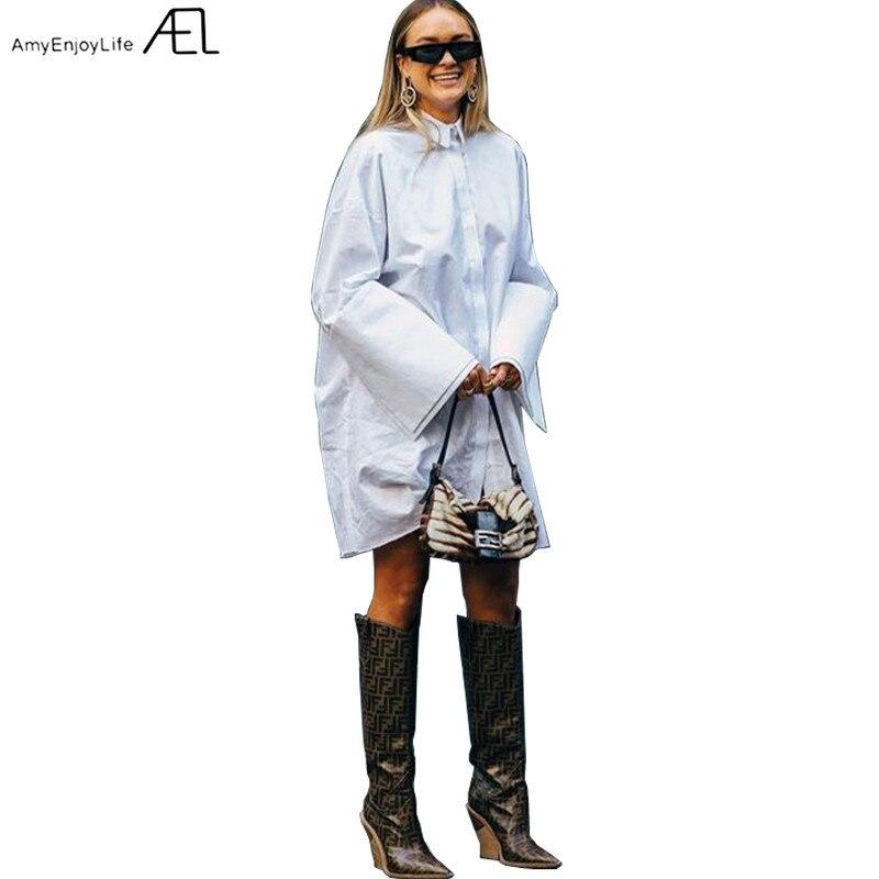 Loose Shirt type Dress Woman White Long Sleeve Slit at Cuff 2019 Spring Women s Fashion