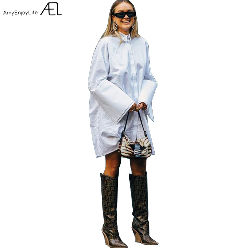 Loose Shirt-type Dress Woman White Long Sleeve Slit at Cuff 2019 Spring Women's Fashion Casual Clothes Oversized Pure Cotton