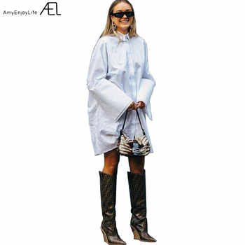 Loose Shirt-type Dress Woman White Long Sleeve Slit at Cuff 2019 Spring Women's Fashion Casual Clothes Oversized Pure Cotton - DISCOUNT ITEM  28% OFF All Category