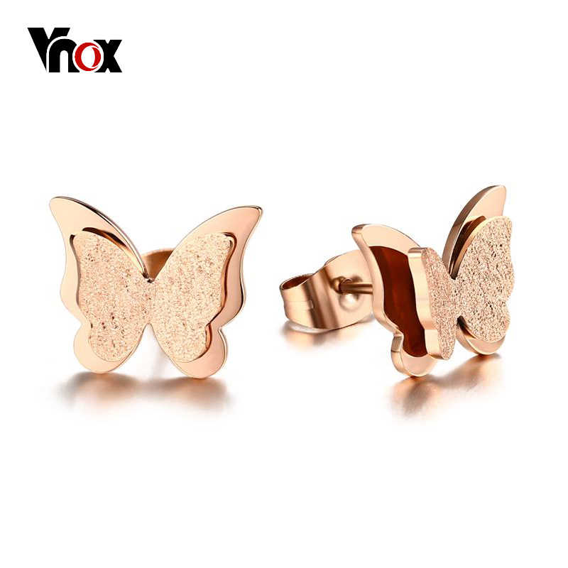 Vnox Small Butterfly Women Stud Earrings Matt Surface Stainless Steel Cute Daily Girl Earings Jewelry