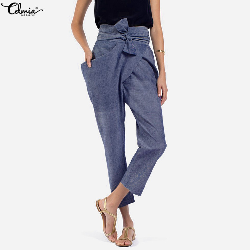 2020 Spring Celmia Plus Size Women High Waist Trouser Casual Bow Belted Pants Irregular Pockets Long Palazzo Carrot Pants S-5XL