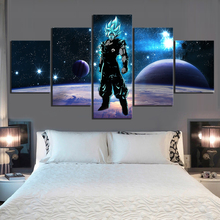 5 Piece Goku Son Cartoon Pictures Dragon Ball Anime Poster Starry Night Sky Fantasy Art Wall Paintings for Home Decor