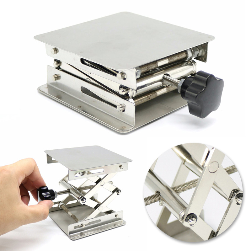 Stainless Steel Adjustable Drill Lift Laboratory Lifting Platform Table Bench Lifter Router Shank Height Woodworking Lab Jack