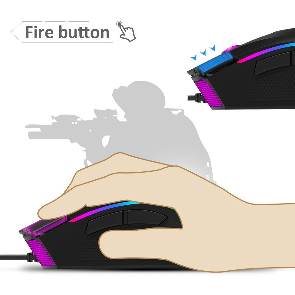 Image 5 - Delux M625 A3050 RGB Backlight Gaming Mouse 4000 DPI 7 Programmable Buttons USB Wired Mice for LOL Game Player for PC Laptop-in Mice from Computer & Office