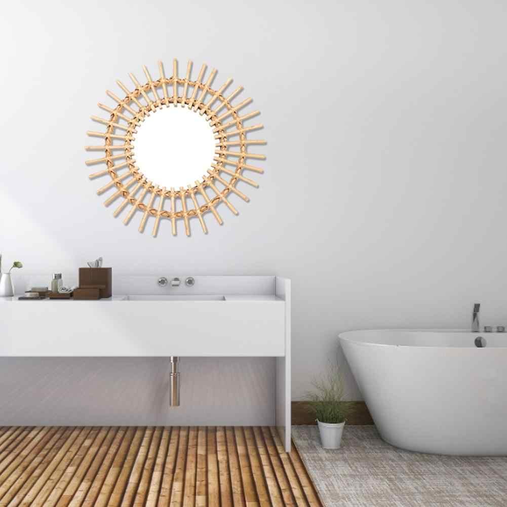 שמש צורת דקורטיבי מראה קש חדשני אמנות קישוט עגול איפור מראה הלבשה אמבטיה קיר תליית מראה