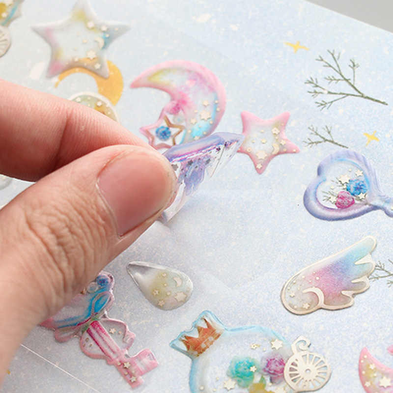 1sheet Crystal 3D Flower Sticker Cute Stars Heart Stickers PVC Cat Stickers For Mobile Decorations Scrapbooking Diary Diy Albums