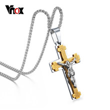 Vnox Jesus Cross Necklace Pendant Men Jewelry Stainless Steel Metal(China)