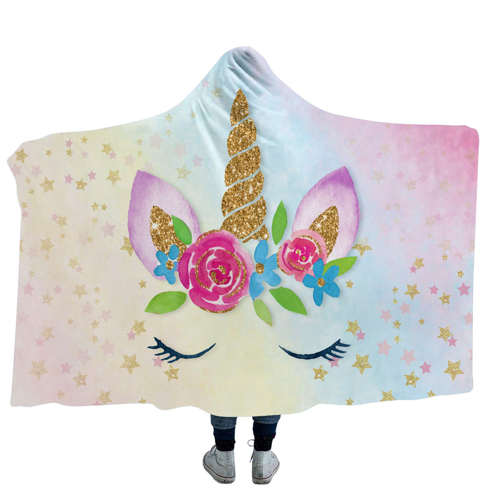 Unicorn Floral Hooded Blanket Women Girls Sherpa Fleece Floral Wearable Throw Blanket 150x200 Winter Warm Bedding 130x150 CM
