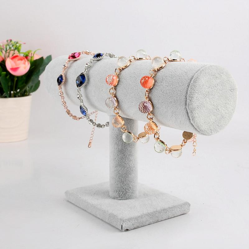 Velvet Jewelry Bracelet Watch Bangle Display Holder Single Layer Bracelet Chain Watch T-Bar Rack Jewelry Display Stand Organizer