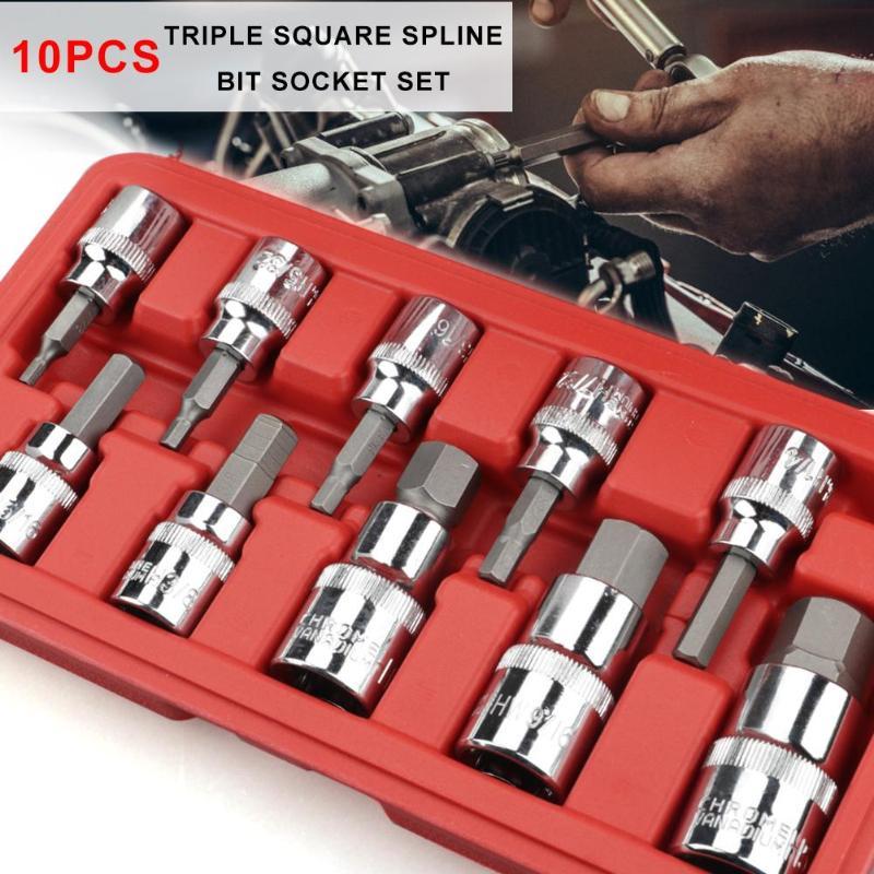 10 Stücke Tamper Proof Spline Bit Offset Spanner Auto Reparatur Steckschlüssel Set Hohe QualitäT Und Geringer Aufwand