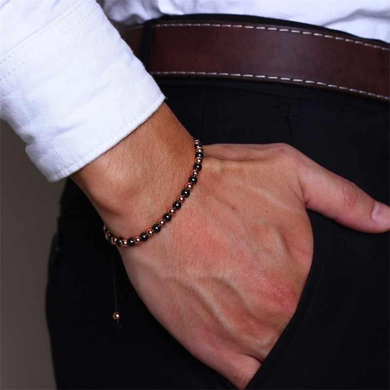 Vnox Adjustable Rope Chain Bracelets for Men Women 585 Rose Gold Color Stainless Steel Beads Bracelets
