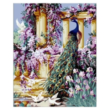 16X20inch ACRYLIC PAINT BY NUMBERS KIT OIL PAINTING ON CANVAS PICTURE Garden with peacocks