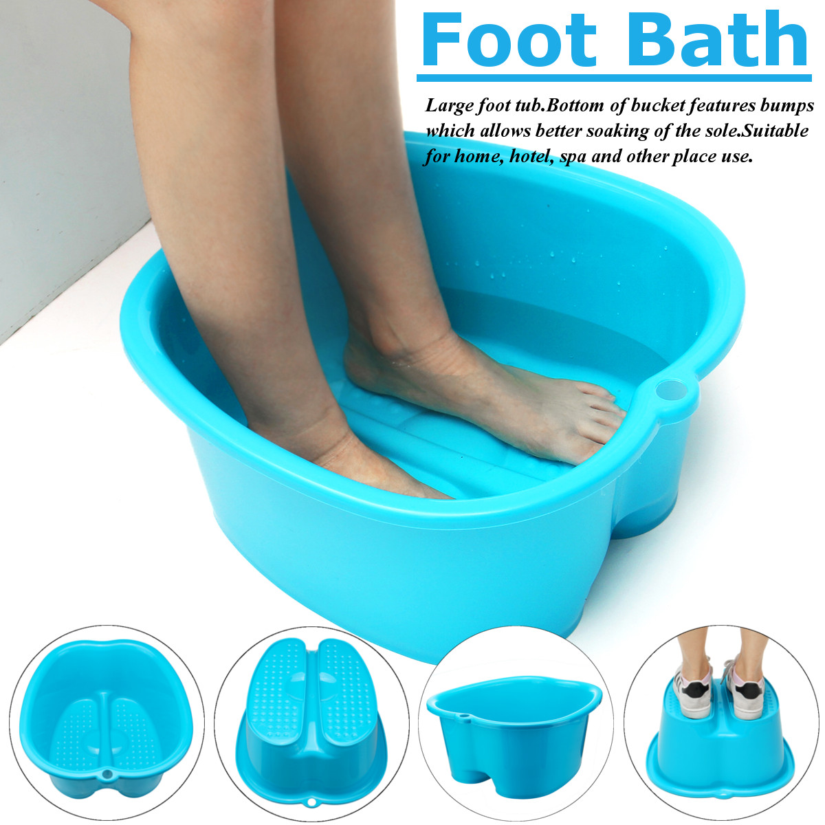 Blue Thicken Plastic Foot Massage Roller Foot Bath Tub Bobble Bath Salt Pots Bump Wash Foot Care Tool Basin Household SPA Large vatimin oil extract foot bath skin care calluses removing skin smooth foot bath salt 300g free shipping