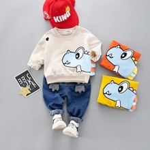 New Hot Toddler Children Clothes Suits 2019 Spring Baby Girls Boys Clothing Cartoon Kids T Shirt Jeans 2Pcs/Sets Infant Costume 2017 spring children s girls 2 clothing sets jeans suits for kids girl costumes red striped cotton t shirt jeans dress clothes