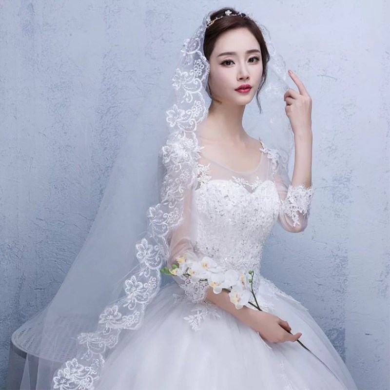 Hot Wedding Accessories Short Wedding Veil White Ivory One Layer Bridal Veil Appliques Lace Edge