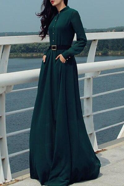Элегантные офисные женские туфли платье для женщин мода с длинным рукавом рубашка макси Вечеринка однобортный пуговицы роковой Vestidos