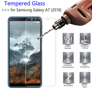 Image 2 - 9H Tempered Glass For Samsung Galaxy A7 2018 Screen Protector protective film For Samsung Galaxy A7 2018 2.5d protection glas
