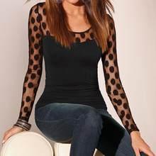 8e057896cb7fd Nueva moda Polka Dot mujeres T camisa Top Casual Slim Fit de malla de  cuello redondo de manga larga t Shirt camiseta de abrigo