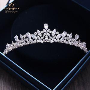 Image 1 - Bavoen Elegant Funkelnden Zirkon Bräute Diademe Kopfschmuck Überzogene Kristall Braut Kronen Stirnbänder Hochzeit Kleid Haar Zubehör