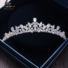 Bavoen Elegant Sparkling Zircon Brides Tiaras Headpieces Plated Crystal Bridal Crowns Headbands Wedding Dress Hair Accessories