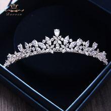 Bavoen Yüksek kalite Avrupa Gelinler Zirkon Tiara Headpieces Akşam Taç Kristal Düğün Saç Aksesuarları
